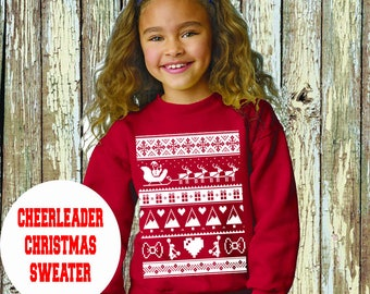 Red Cheerleading UGLY CHRISTMAS SWEATER