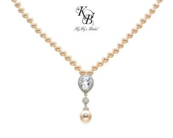 Bridal Necklace Pearl Bridal Jewellery Swarovski Pearl Necklace Cubic Zirconia Necklace Wedding Jewelry Bridal Jewelry FREE Gift Box