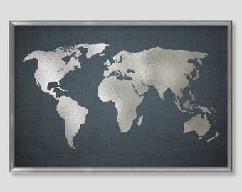 World Map Wall Art Neutral Wall Decor Blue Gray World Map Decor Silver Wall Art Large Wall Art Print Silver Wall Art Blue Wall Art Neutral