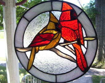 Stained Glass Male & Female  Cardinals Sun catcher