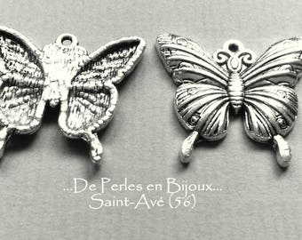 1 lot 2 metal 23X25X2.5mm Butterfly charms