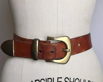 70s leather belt S/M | vintage chestnut brown belt