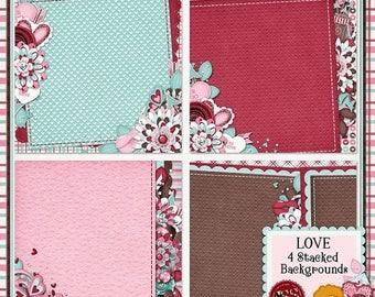 On Sale 50% Love 12x12 Digital Scrapbook Kit Stacked Backgrounds - Digital Scrapbooking