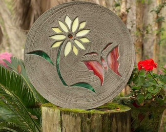 "Red Butterfly With Yellow Daisy Stepping Stone 18"" Round Made of Concrete and Stained Glass Perfect for Your Garden Patio Backyard Pool #815"
