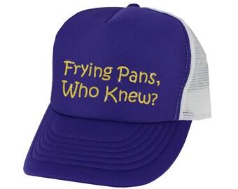 Frying Pans, who Knew Trucker Hat Rapunzel - yellow glitter - purple white hat snap back trucker hat