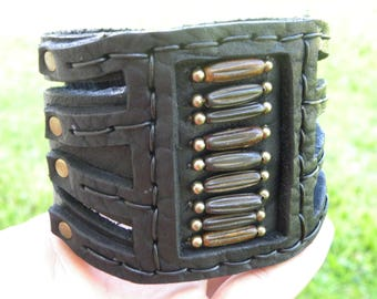 Buffalo Bison Leather cuff thick Shaman bracelet  Native Indian Navajo  style Bones  Ketoh 3 inch wide size bracelet cuff