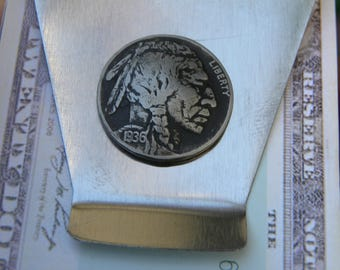 Authentic Buffalo Indian Nickel coin readable date  Men Money clip Double side Stainless steel nice gift for FSU Seminole fans  tribal
