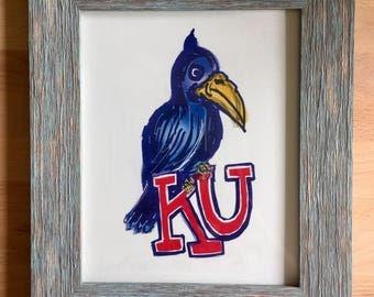 1920 Jayhawk Hand Drawn Print - Hand Drawn Reproduction - Rock Chalk Jayhawk - Lawrence Kansas - University of Kansas - KU Art