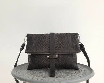 Brown crossbody bag genuine leather snakeskin shoulder bag purse clutch