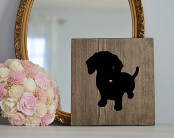 Hand Painted Dachshund Silhouette with Heart and Name on Stained Wood, Housewarming Gift, Wedding Gift, Gift for Dog People, Dachshund Gift