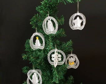 3D FSL Christmas Ornaments 3 Free Standing Lace Machine Embroidery Designs Instant Download 4x4 hoop 6 designs APE2610
