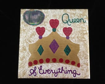 Queen of Everything, Decoupaged and Handpainted Jewelry Box