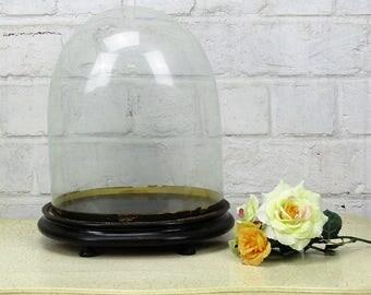 "Antique Victorian Oval Hand Blown Glass Globe Dome Doll Clock Steampunk 10.23"""