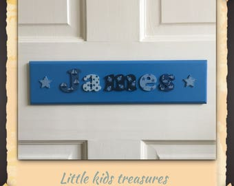 BESPOKE boys personalised name plaque with cute lettering! Little kids treasures