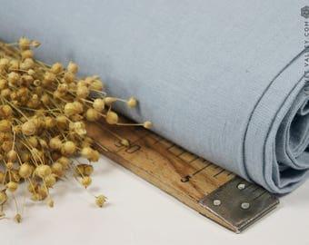 Softened dusty sky blue linen fabric -Dusty sky blue linen- Stonewashed light blue linen fabric for clothing, bedding