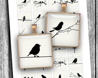 Bird Silhouettes 15x15mm, 1x1 inch, 1.5x1.5 inch Off White Background Square Printable images for Jewelry Making Digital Collage Sheet