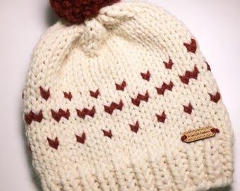 Knit Beanie with Pom - Knit Beanie - Pom Pom Hat - Winter Beanie -Chunky Yarn Beanie - Knitted Hat - Toque - Gift for her - Valentine's Day