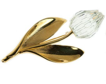 Gold Plated and Crystal Tulip Brooch