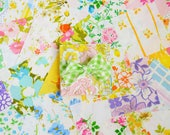 Vintage Sheet. 40 Piece Charm Pack. Colorful Brights. 5 x 5 Fabric Squares. Quilt Bundle. Floral Fabric. 5 Inch. Sets 01