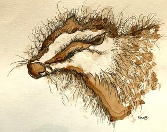 Unframed Wild Badger Original Illustration