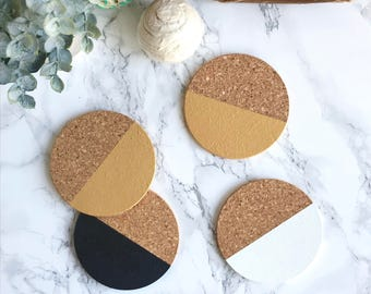 White, Gold + Black Cork Coasters | Round Coasters | Barware | Drinkware | Set of 4