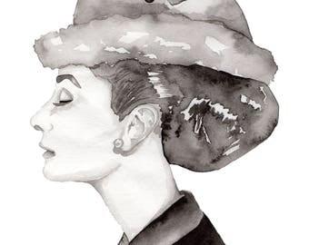 Watercolor Print Audrey Hepburn Black and White 8.5 x 11