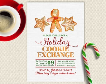 Holiday Cookie Exchange Invitation| Cookie Swap Invite| Christmas Party| Cookie Exchange Party| Holiday Cookie Swap| Watercolor | Christmas