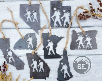 STATE HIKER Ornament Pick Your State Rustic Raw Steel Christmas Decoration Personalize Home Decor Hiking Keepsake By BE Creations