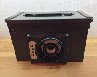 Repurposed ammo box Bluetooth Speaker with Inbuilt Lithium Battery by Trong Upcycling