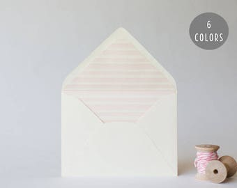watercolor stripes lined envelopes (6 color options) - sets of 10  // envelope liners lined envelopes wedding shower party invitation invite