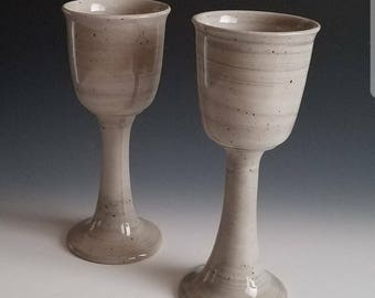 Handmade Agateware Porcelain and Brown Clay Goblets - Grey and White Wine Goblets - Goblets - Renaissance Pottery