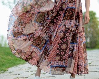 maxi floral skirt,chiffon skirt,long summer skirt,chiffon maxi skirt,full skirt,long skirt,boho maxi skirt