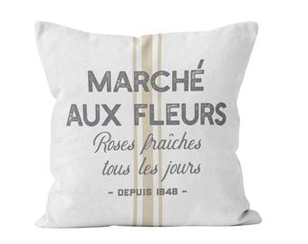 Flowers Market Pillow Cover in French, French Country Pillow Cover Farmhouse Quote Throw Pillow Cover Grain Sack Pillow Cover ETSYFETEQUEBEC
