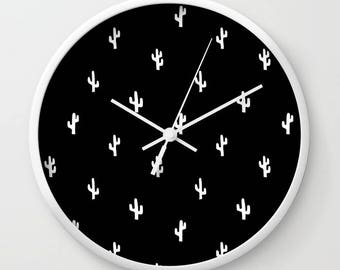 45 colors Cactus Wall Clock, Black and White Cactus Decor Nursery, Desert Wall Clock, Black and White Wall Clock, Desert Office Decor Gift