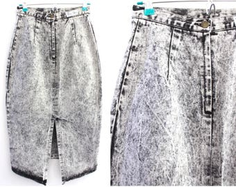 90's Black and White Acid Wash Denim Maxi Skirt