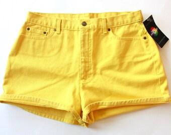 "90's Yellow High Waisted Denim Shorts 33"""