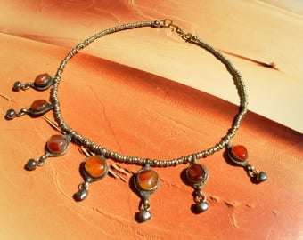 OLD TRIBAL NECKLACE Afghanistan carnelian of beads red orange handmade of silver folk art