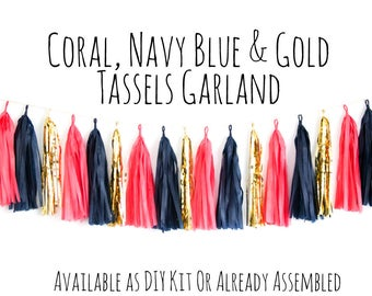 Coral, Navy Blue And Gold Tassel Garland with Jute Twine, Backdrop, Photo Prop, Party Decoration, Wall Decor, Birthday Decor