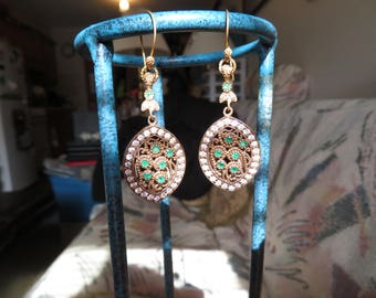 Handcrafted Deco 2.60ctw Emerald & White Sapphire Rose Gold/925 Sterling Silver Dangle Earrings 12 G, 2.5 Inches Long