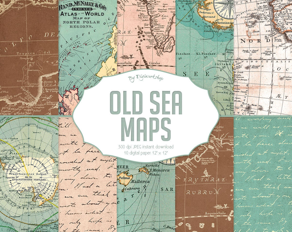 Maps: Vintage Maps Digital Paper Old Sea Maps With