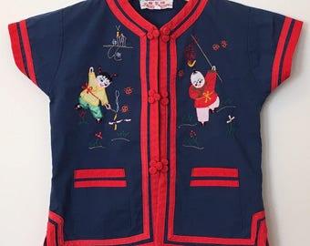 Vintage Baby Girl Top/ Baby Girl Shirt/ Baby Clothes/ Baby Girl Clothes/ Boho Baby Girl