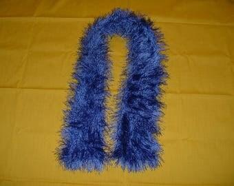 Crocheted Fun Fur SCARF - Blue