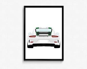 Porsche 911R A3 Print