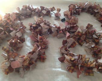 Gingerbread Rag Garland, Christmas Garland, Christmas Swag Garland, Lighted Holiday Decor,  Rustic Rag Garland, Country Garland, Fabric Swag