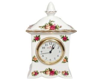 Mantel clock - Old Country Roses - Royal Albert 6 1/2 inch clock with acorn finial