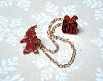 Gingerbread man Christmas brooch