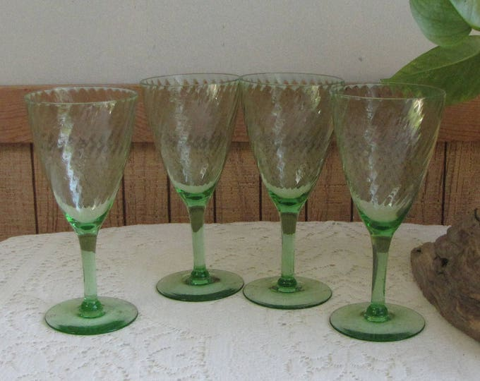 Green Depression Glass Wine Glasses Swirled Pattern Set of Four (4) Anchor Hocking Spiral Green 1928-1930