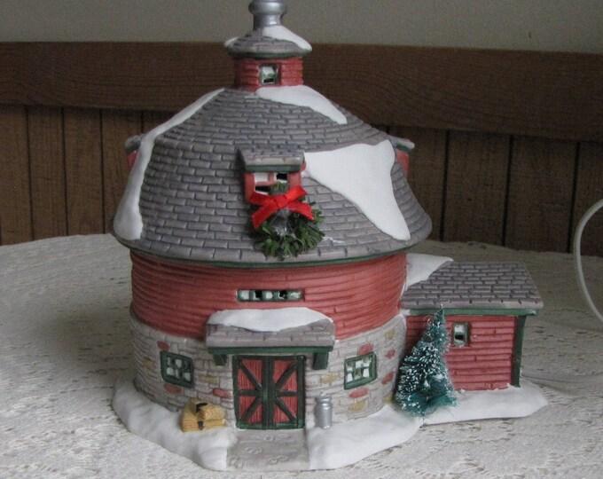 Christmas Barn Seasonal Specialties Ceramic Lighted Round Barn 1997 Christmas Valley Collectible Vintage Holiday Home Decof