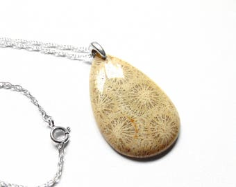 Sterling Silver Fossil Necklace - Fossil Coral