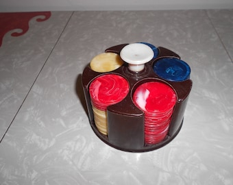 Vintage Poker Chips with Caddy